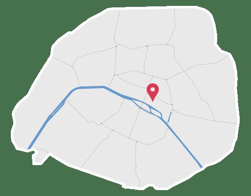 Carte de paris avec position de la clinique